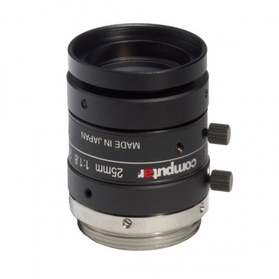 "M2518-MPW2 Computar 2/3"" C-Mount 25mm F/1.8 5 Mega-Pixel Ultra Low Distortion Manual Iris Lens"