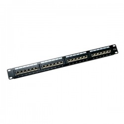 CAT 5E Patch Panel 24 Port 1U Rack Mount - 45 Degree Entry