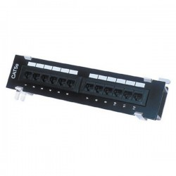 CAT 5E Mini Patch Panel 12 Port w/ Wall Mount Bracket
