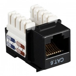 CAT6 RJ45 Punch Down Keystone Jack - Black
