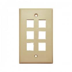 20-3006-IV Wall Plate for Keystone, 6 Hole -Ivory