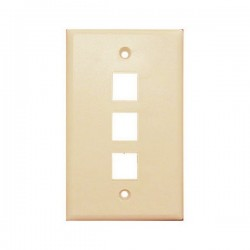 WP-3P-IV Single Gang Wall Plate - 3 Port - Ivory