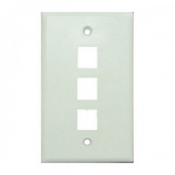 WP-3P-WH Single Gang Wall Plate - 3 Port - White