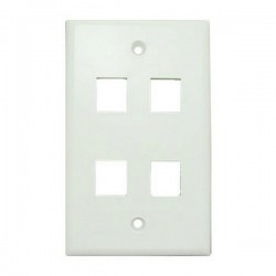 WP-4P-WH Single Gang Wall Plate - 4 Port - White