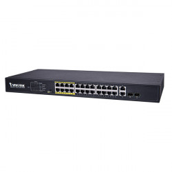 AW-FGT-260D-380 Vivotek 24 FE PoE + 2 GE Combo 370W Total Budget Unmanaged Switch