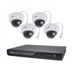 ND9323P-2TB-4FD60 Vivotek 8 Channel NVR Kit 128Mbps Max Throughput 2TB w/ 4 x 2MP Outdoor IR Dome IP Security Cameras