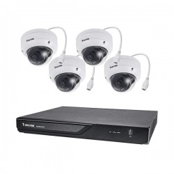 ND9323P-2TB-4FD80 Vivotek 8 Channel NVR Kit 128Mbps Max Throughput 2TB w/ 4 x 5MP Outdoor IR Dome IP Security Cameras